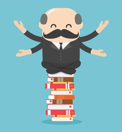 Chief businessman meditate relaxed on a pile of books Ideas, learning, knowledge concept Vector Illustratie