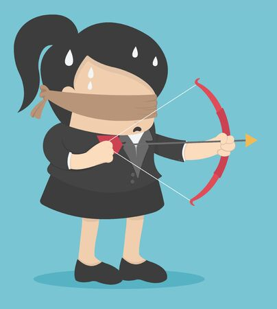 Blindfolded businesswomen are shooting arrows Vector Illustratie