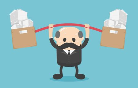 Boss businessmen with overwhelming workloads Illustration