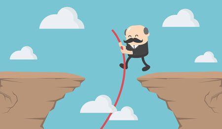 Boss businessman jumping through
