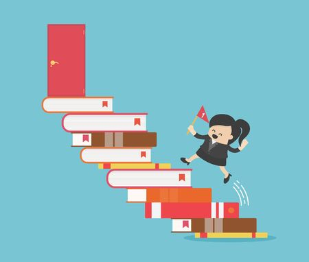 Successful Business woman, path of success begins with reading.Path of success begins with reading.