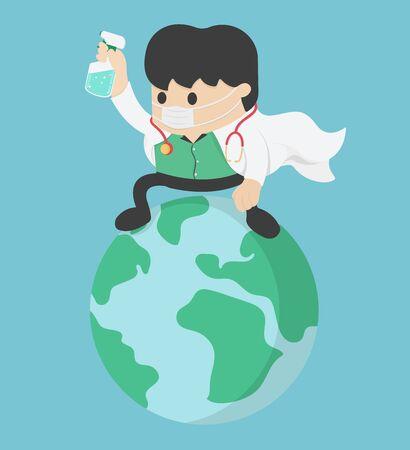 Coronavirus attack concept. doctor Save World. stop Covid-19