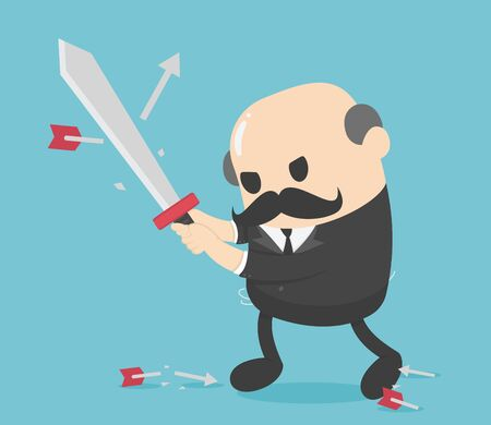 Concept Elderly businessman holding sword fight arrows