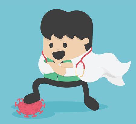 illustration fight covid-19 corona virus. cure corona virus