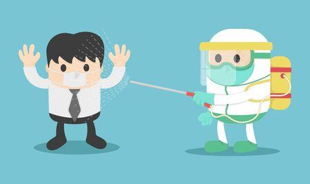 illustration fight covid-19 Coronavirus infected patient in quarantine control experts make coronavirus disease treatment