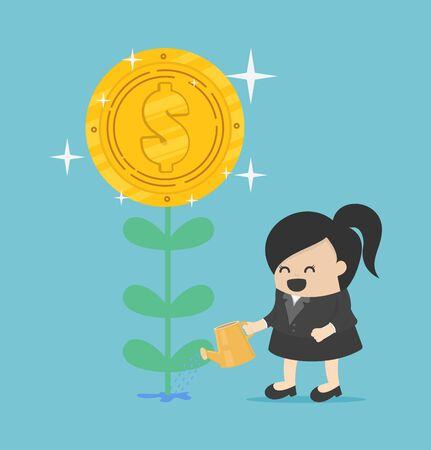 Money tree, Businesswoman watering a money plant growing