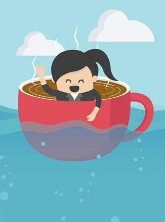 businesswoman On boat rowing like coffee cup in the vast, smile on her face