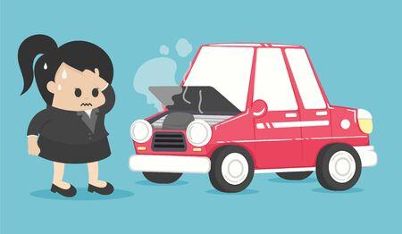 Stressed businesswoman near broken car Stock Illustratie