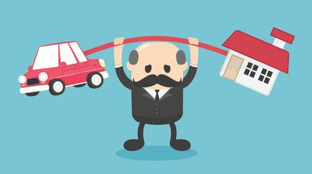 Concept cartoon illustration Elderly businessmen who shows a weary expression of the burden of both the car and the house Stock Illustratie