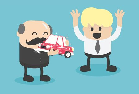 Business boss give a car to successful businessmen Stock Illustratie