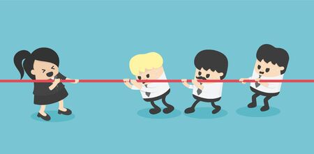 businesswoman and businessman tug of war rivalry concept, one to three Stock Illustratie