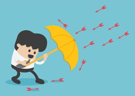 Young  businessman use umbrella to protecting arrow down vector