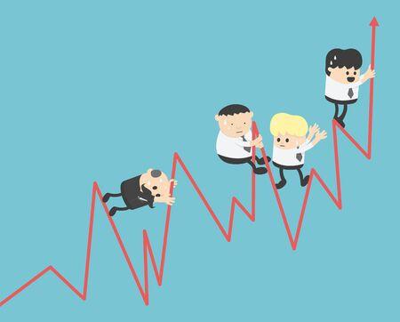 Graph concepts, businessmen swarming stock graphs, rising teamwork.