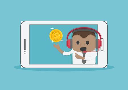 New idea bulb Successful African businessman from smartphone screen Stock Illustratie