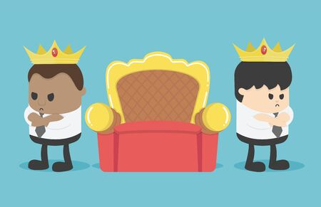 Two business people are angry to separate chair positions, Usurping positions at work