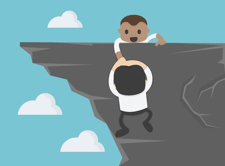 Concept business Help and assistance concept two businessman climbing on mountain and helping