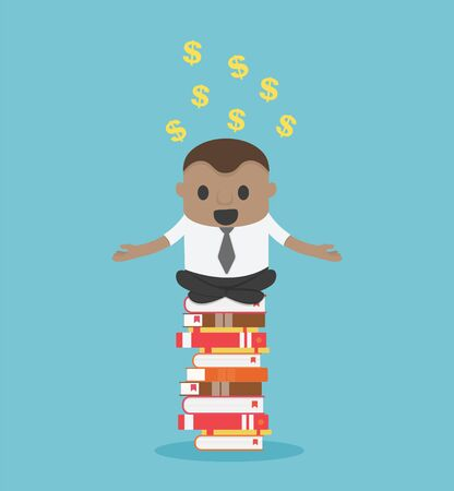 Concept cartoon illustration African Businessman who is mindful by sitting on a pile of books, he succeeds in reading and can make money for him Stock Illustratie