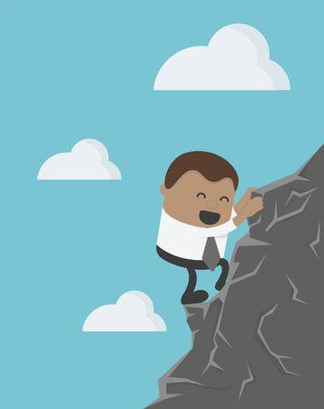 Business concept cartoon illustration Young African businessman climbing Stock Illustratie