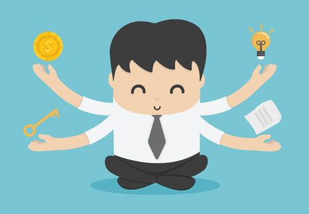 Business people meditation represents ,Habits of successful people, have savings, have ideas, can solve problems, diligent work