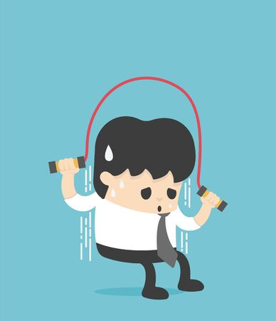 Illustration Concept young man in a suit skipping a rope