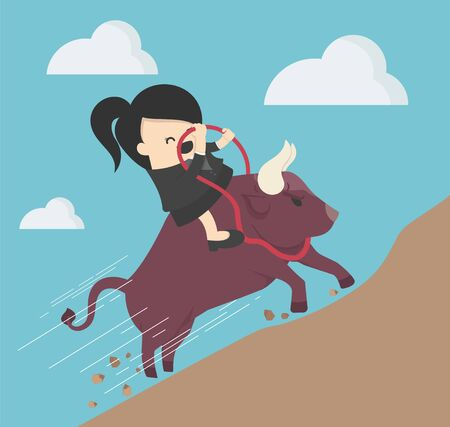 Businesswoman riding a bull, a symbol of successful investment, ascends a steep path