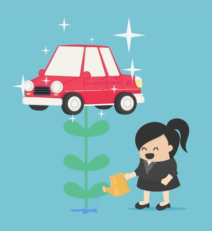 businesswoman who is watering flowers and getting produce as a car is like having a bonus for her investment. Stock Illustratie