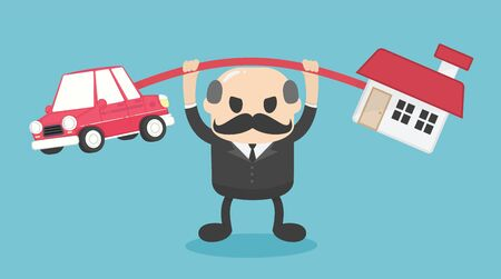 elderly businessman is carrying a huge burden on both the house and the car, but his expression shows the confidence he has to go through well. Stock Illustratie