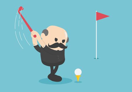 elderly businessman who is about to play golf with determination