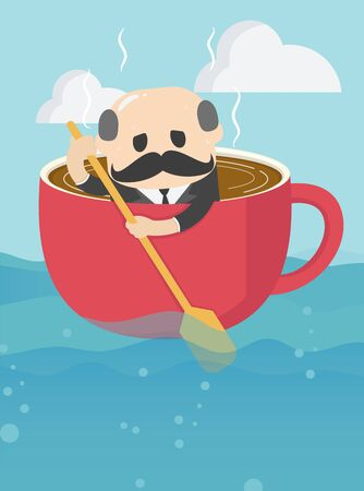 elderly businessman who is in a cup of coffee and is rowing ahead with a weary expression on his overwork