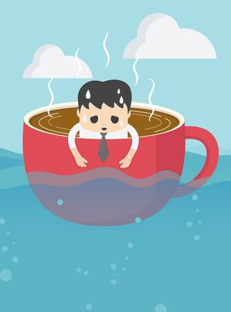 businessman tired in cup of coffee in vast sea with a tired expression showing his overwork