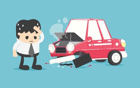 young businessman who has suffered a car accident causes severe damage to his car, showing an expression of hopelessness.