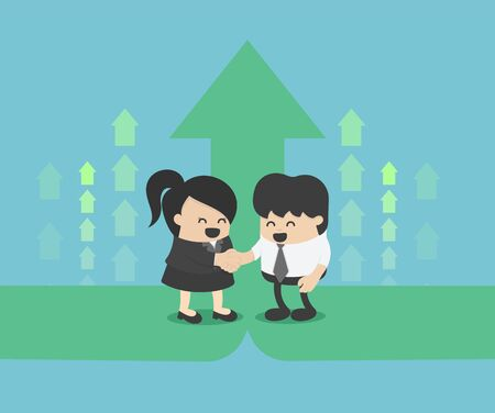 Two male and female businessmen are collaborating to build his business and a better future. The green symbol means the growth of their business. Stock Illustratie