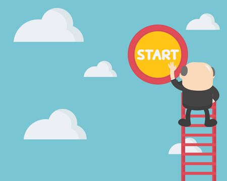 businessman trying to press the start button to start a new beginning in his life