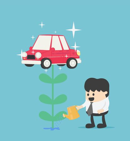 businessman who is watering flowers and getting produce as a car is like having a bonus for he investment.