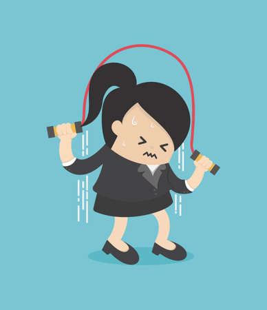Businesswoman struggle to jump the rope Stock Illustratie