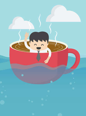Businessman floating in a coffee cup