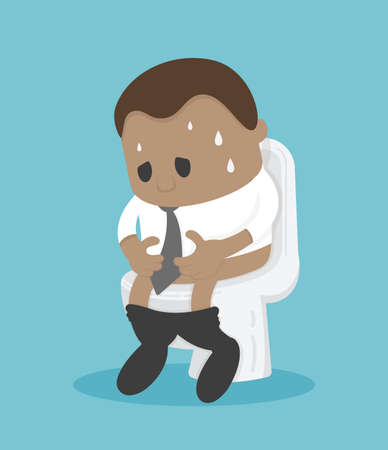African Businessman sitting on the toilet with his stomach ache and possibly a bowel disease Stock Illustratie