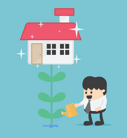 Business concept illustration of  Young businessman who can make huge profits from investments Can buy things he wants Home