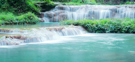 Thanawan Waterfall beautiful There is water throughout the year. The water is emerald green. Located in Doi Phu Nang National Park, Phayao, Thailand. Waterfall nature landscape