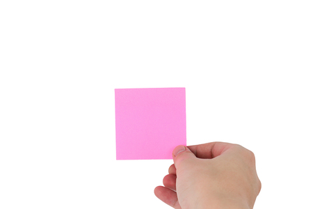human man hands holding sticky notes paper Creative concept on white background with clipping path
