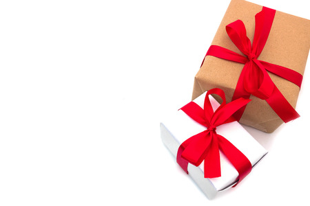 top view objects Brown and white Gift box bow tie Red ribbon isolated on white background merry christmas and happy new year concept