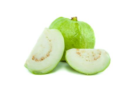 linn: Psidium guajava Linn bright green guava on white background Stock Photo