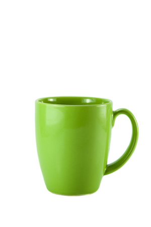 isolated object: Green mug  on a white background, with reflections Stock Photo