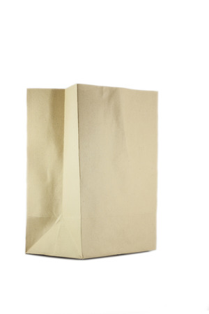 Brown paper bags  on white background photo