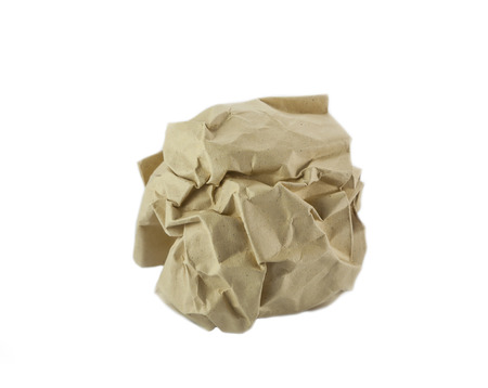wastrel: Crumpled recycled paper ball  on white background Stock Photo