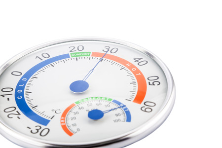 hygrometer: Measure humidity and temperature on a white background.