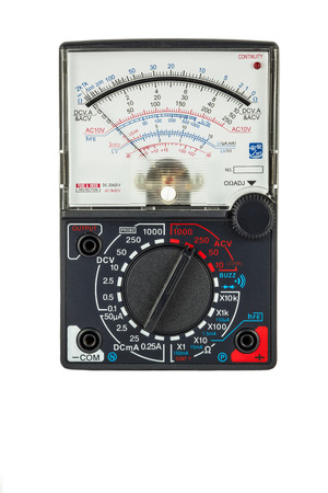Analogue multimeter with probe isolated on white background