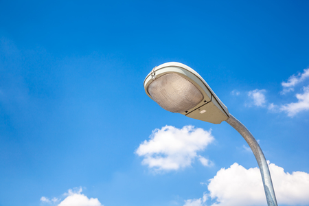 electric avenue: Street light on blue sky background Stock Photo