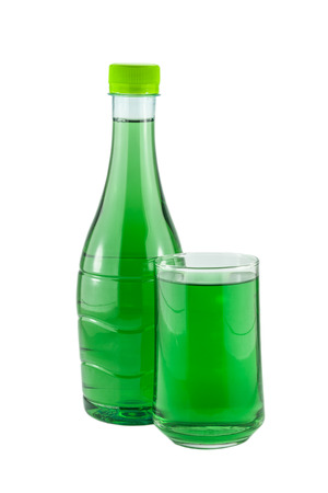 chlorophyll: water bottles and glass chlorophyll isolated on white background