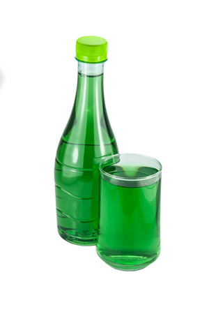 chlorophyl: water bottles and glass chlorophyll isolated on white background